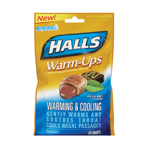 HALLS WARM-UPS MOCHA MINT FLAVOR 20 DROPS | Delicias Importadas